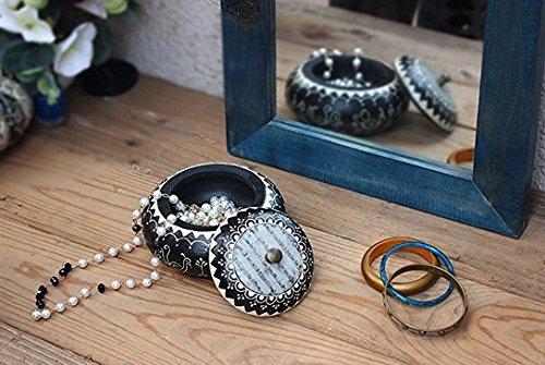 storeindya Hand Painted Wooden Jewelry Ring Trinket Box Small Round Keepsake Storage Multipurpose Geometric Accessories Holder