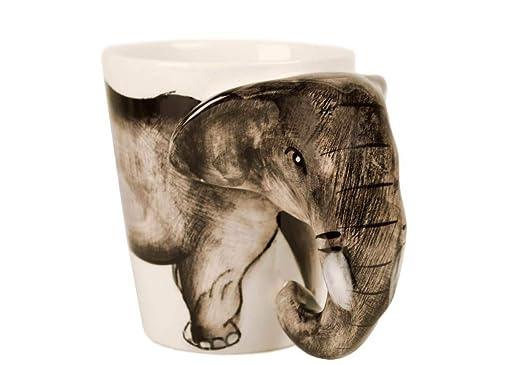 Elefante Taza de Café Cerámica Hecho a Mano 8oz Gris (10cm x 8cm ...