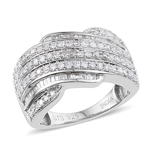 925 Sterling Silver Platinum Plated 1.03 cttw Diamond Baguette, Diamond Band Wedding Gift Ring Size (Baguette Diamond Platinum Wedding Band)