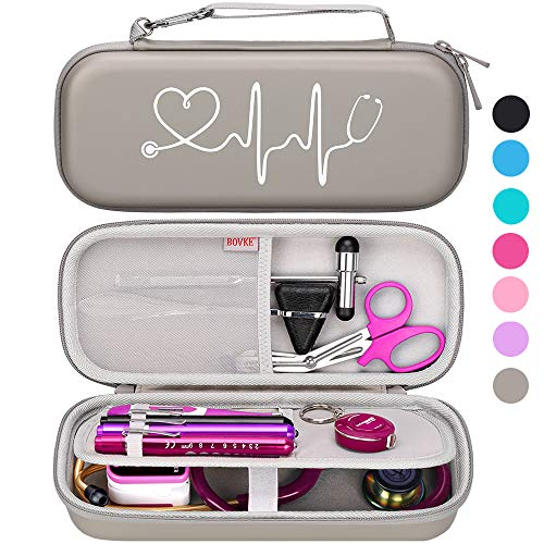 BOVKE Travel Case for 3M Littmann Classic III, Lightweight II S.E, Cardiology IV Diagnostic, MDF Acoustica Deluxe Stethascopes - Extra Room for Taylor Percussion Reflex Hammer and Penlight, Gray