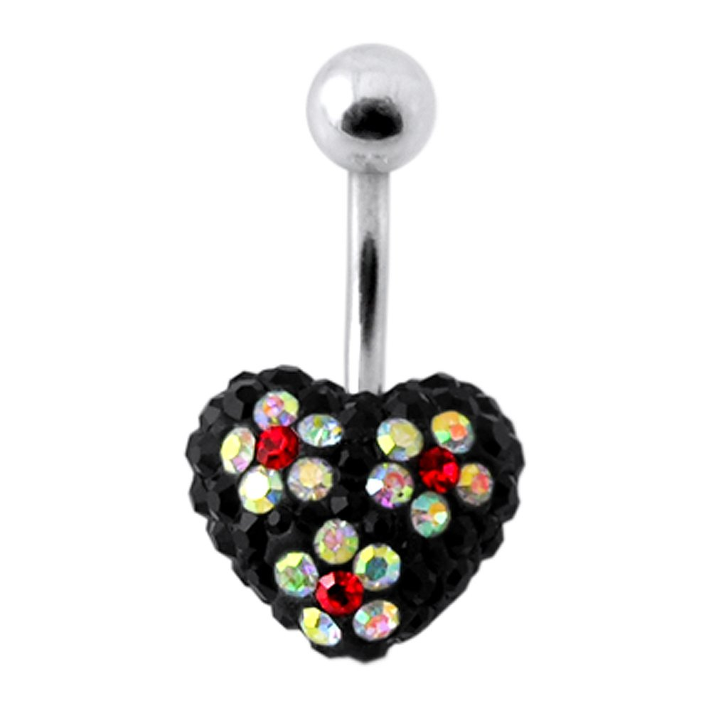 AtoZ Piercing Multi Crystal Stone Triple Flower on Black Heart with 316L Surgical Steel Belly Button Ring Jewelry