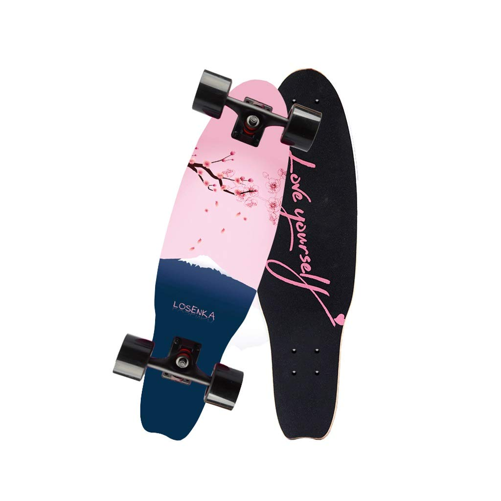 HXGL-Skateboards Small Fish Plate Brush Street Professional Skateboard Board Travel Youth Children Adult Boys and Girls Big Fish Board - Cherry Blossom (Size : L)