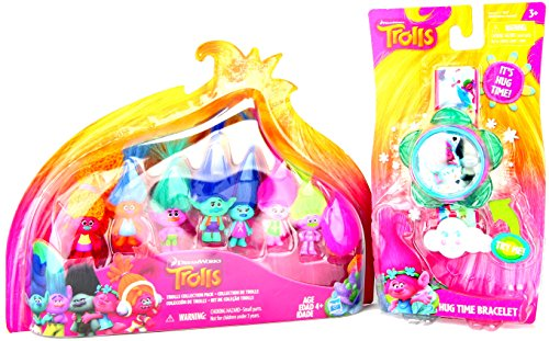 [Dreamworks Trolls Collection Pack and Trolls Hug Time Bracelet Bundle] (World Country Themed Costumes)