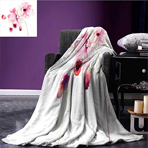 RenteriaDecor Watercolor Microfiber All Season Blanket Refined Light Pink Flowers Hand Drawn with Brush Marks Petals Nature Art Lightweight Thermal Blankets Magenta Pale Pink Bed or Couch 70