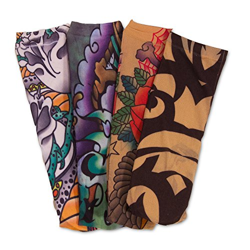 Crenstone Fake Tattoo Sleeves Set -- 4 Tattoo Arm Sleeves (Tribal, Biker, Classic Tattoo Designs)]()