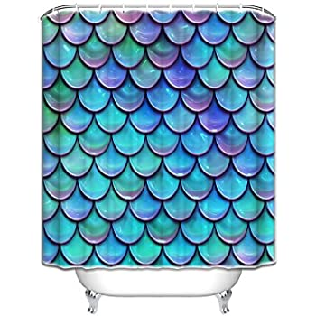 purple and turquoise shower curtain. Fish Scales Purple Blue Shower Curtain Decoration Mildew Waterproof  Polyester Fabric Bathroom Amazon Com