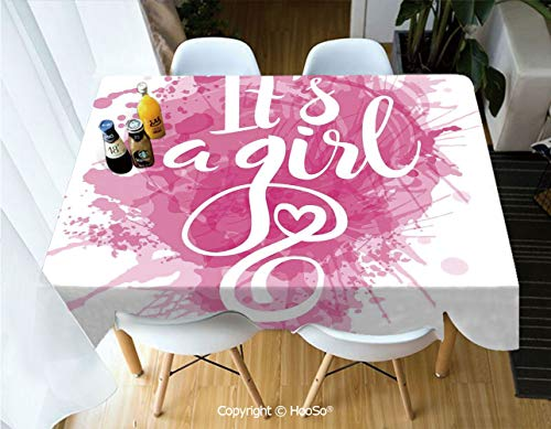 HooSo Fabric Rectangular Table Cloth, Washable Table Cover Perfect for Christmas, Thanks Giving, Dinner Parties, BBQ and Everyday Use,Gender Reveal Decorations,Stylized Its A Girl,60