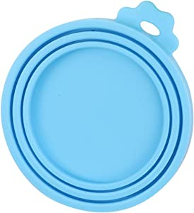 TLOG Pet Food Can Cover, Universal Silicone Cat Dog Food Can Lids Covers, 1 Fit 3 Standard Size BPA Free and Dishwasher Pet Food Storage, Four Colors (Blue)