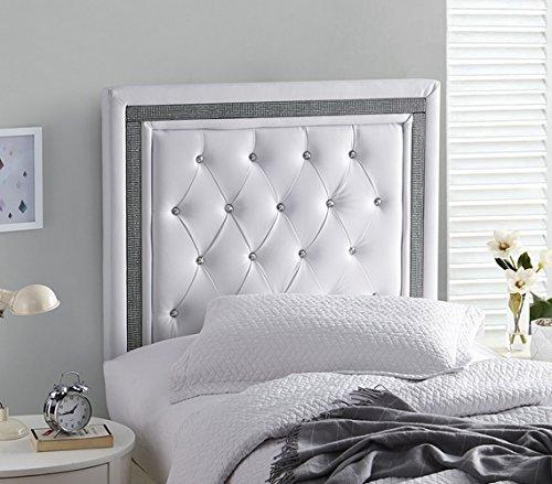 Allure Headboard - Tavira Allure College Dorm Headboard - White with Black Crystal Border