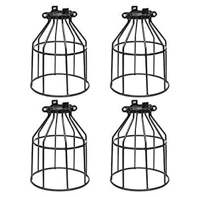 Supmart Metal Bulb Guard, Clamp On Steel Lamp Cage for Hanging Pendant Lights and Vintage Lamp Holders,Open Style Black Industrial Wire Iron Bird Cage,4-Pack