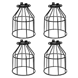 vintage looking ceiling fan - Supmart Metal Bulb Guard, Clamp On Steel Lamp Cage for Hanging Pendant Lights and Vintage Lamp Holders,Open Style Black Industrial Wire Iron Bird Cage,4-Pack
