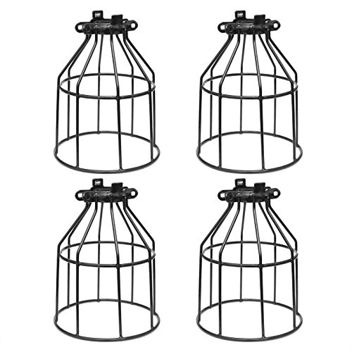 Metal Bulb Guard, Clamp On Steel Lamp Cage for Hanging Pendant Lights, Ceiling Fan Light and Vintage Lamp Holders,Open Style Black Industrial Wire Iron Bird Cage,4-Pack, by Seaside Village -