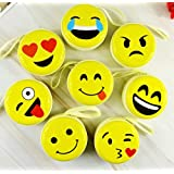 ShopNGift Cute Smiley Emoji Metal Tin Pouch for Earphone, Coins, Memory Card, Pendrive and Jewellery(Yellow, 8.5x8.5x4.5cm) - Pack of 3