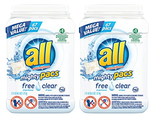 All Mighty Pacs Laundry Detergent  Free Clear For Sensitive Skin  67 Count  2 Tubs  134 Total Loads