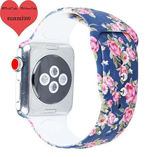 Sunmitech Compatible with Apple Watch Band 38mm 40mm 42mm 44mm, Silicone Printed Sport Bands Bracelet Strap Wristband Replacement for iwatch Series 4 3 2 1, S/M M/L Size