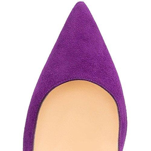 Femmes Sexy Bout Pointu Stiletto Rivet Pompes Glisser Sur Des Talons Hauts Chaussures Cloutées Taille 4- 15 Nous Violet