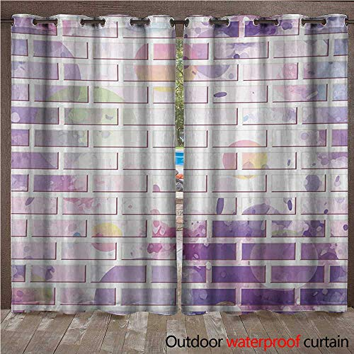 Patio Brick Pattern - Wall Outdoor Curtain Panel for Patio Vector Illustration of Graffiti Brick Wall Pattern Design Street ArtworkW120 x L108 Violet and Lavander