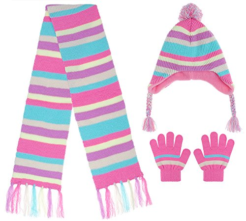 Capelli New York Girls Chunky Stripe Knit Earflap Hat, Muffler and Mittens Set Ivory Combo S / M