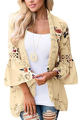 (Women's Floral Print Short Sleeve Shawl Chiffon Kimono Cardigan Casual Blouse Tops(Khaki 3XL))