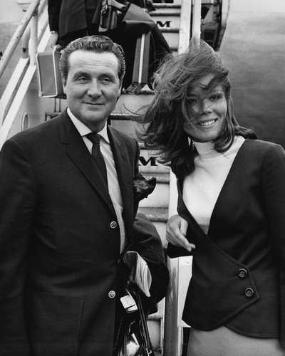 Patrick Macnee and Diana Rigg in The Avengers posing by Pan Am aircraft London Airport 16x20 Poster