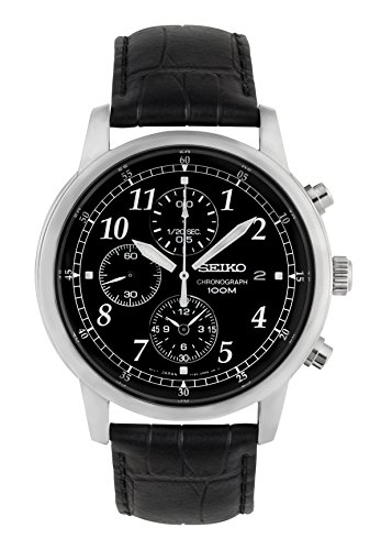 lassic Black Leather Black Chronograph Dial Watch ()