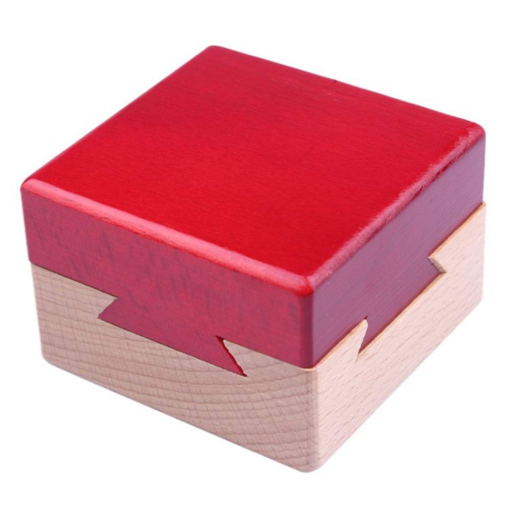 Himine Wooden Magic Mysterious Box Secret Opening Puzzle Box Gift Box Red+Wood
