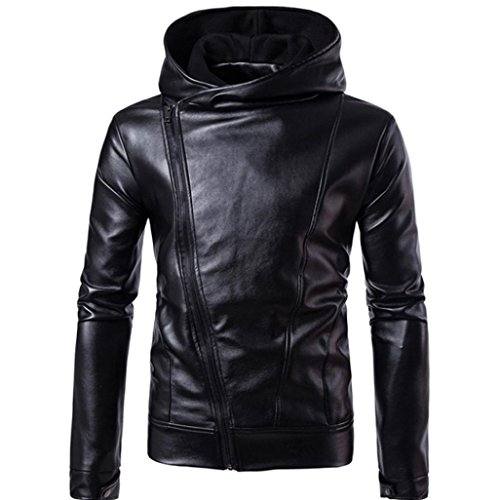 Exchange Leather Vest - YANG-YI Mens Hot Sales Leather Jacket Autumn&Winter Biker Motorcycle Zipper Warm Coat (Black, XL)