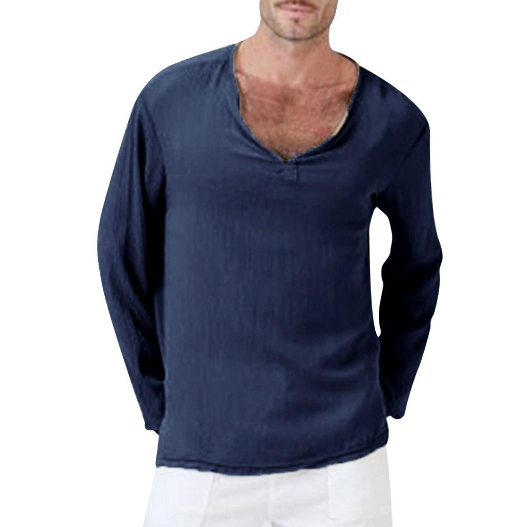 Clearance Men Long Sleeve T Shirts vermers Mens Cotton Linen Thai Hippie Shirt V-Neck Beach Yoga Top Blouse(L, Navy) by vermers