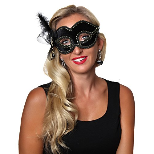 Making Believe Black Venetian Half Mask (Make A Wish Costumes)