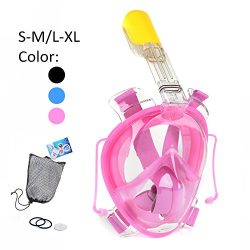 Snorkel Mask, 180° Full Face Snorkeling Mask 100% Panoramic-View, Anti-Fog, Anti-Leak, the Addition of 2 Breathing Tubes To Route the Airway Away From Your View (Pink, L/XL)