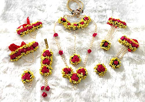 Sarpi Crafts Jewellery Pearl Designer Yellow & Red Jwellery Set with 10 Items for Women & Girls (Mehandi/Haldi Bridal/Baby Shower)