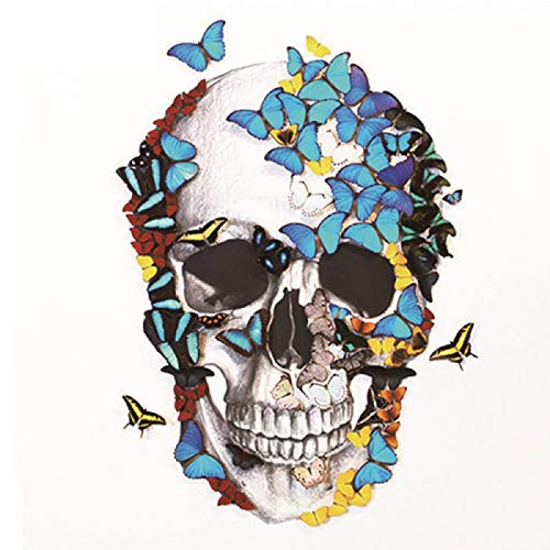 Vertily Diamond Painting DIY 5D Diamond Painting Kit Smiling Skull and Butterfly Embroidery Drill Cross Stitch Canvas Wall Decor Arts Craft Accurate Digital Printing Halloween Decorate (30x30cm)