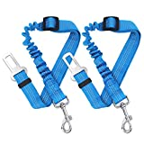 Rocy 2 Packs Adjustable Nylon Dog Cat Car Seat Belt Vehicle Harnesses with Elastic Bungee Buffer (Blue) For Sale
