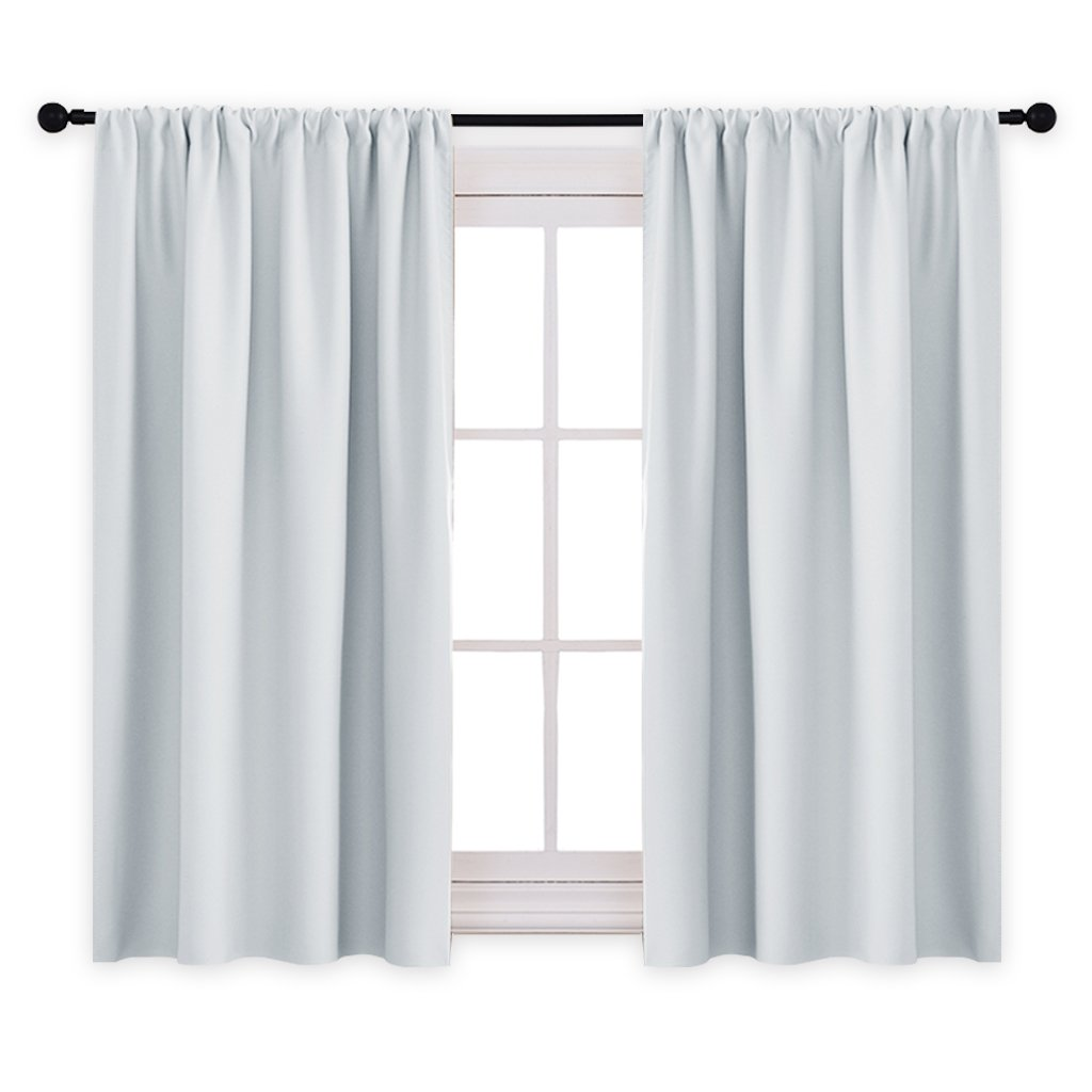 PONY DANCE Curtains Draperies - Room Darkening Rod Pocket Top Thermal Insulated Noise Reducing Short Curtain Panels Kitchen Bedroom, 42'' Wide x 45'' Long, Greyish White, 2 Pcs