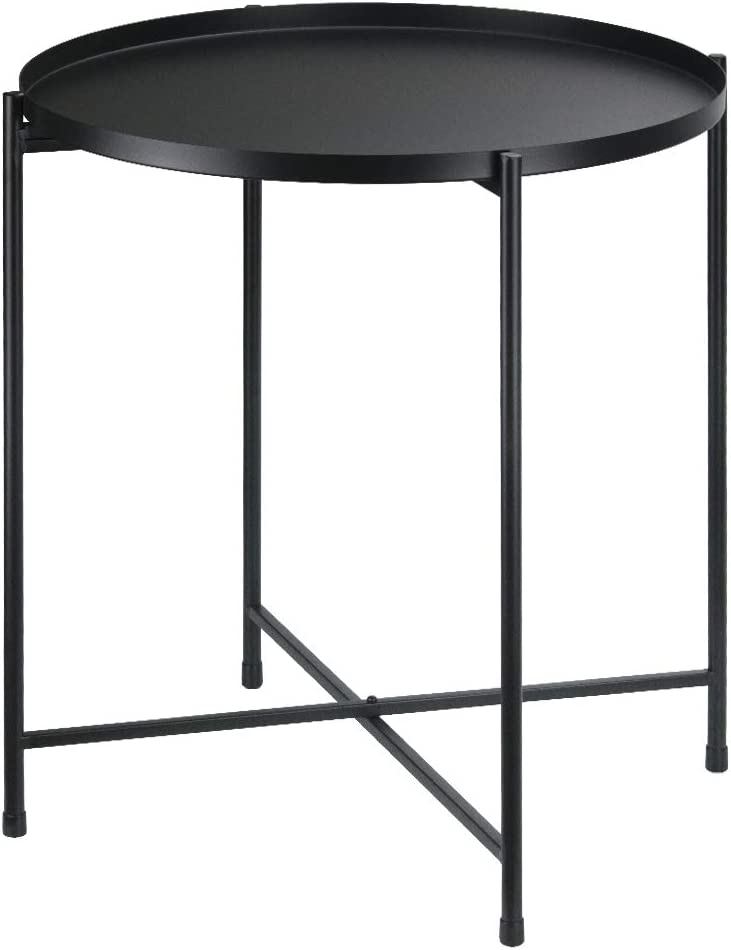 Tiita Black Round Side Table Tray Metal End Table Round Foldable Accent Coffee Table for Living Room Bedroom (Extra Large, Black)