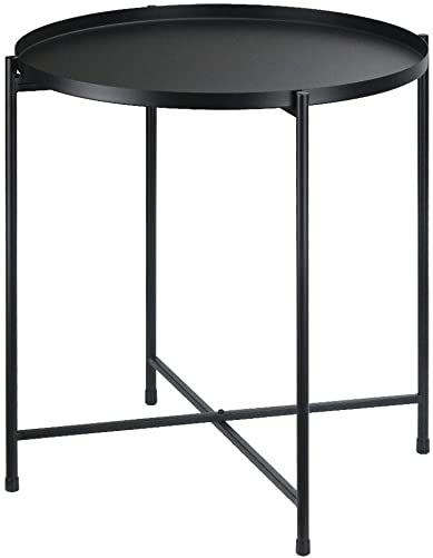 Tiita Black Round Side Table Tray Metal End Table Round Foldable Accent Coffee Table