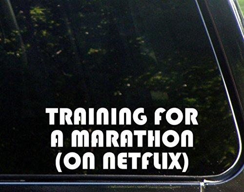 training-for-a-marathon-on-netflix-9x3-3-4-vinyl-die-cut-decal-bumper-sticker-for-windows-trucks-car