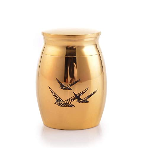 Amazon Sunling Peaceful Birds Engraved Small Stainless Steel Inspiration Small Decorative Urns