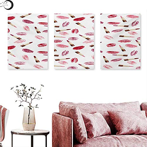 - Mannwarehouse Cosmetics Poster Prints Beauty Theme Pink and Burgundy Lipstick and Kiss Pattern Makeup Concept Triptych Art Burgundy and Pink W 12
