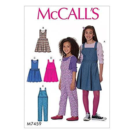 Amazon.com: McCalls Girls Easy Sewing Pattern 7459 Pinafore Dresses ...