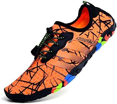 大きいサイズの屋外の男性の女性の5本指キャンバスラバー素材上流の靴ビーチシューズ通気性のソフト底カジュアルシューズワタリ靴(オレンジ) 快適な (色 : Orange, Size : US9)