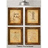 Original Leonardo da Vinci Art Prints - Set of Four Photos (8x10) Unframed