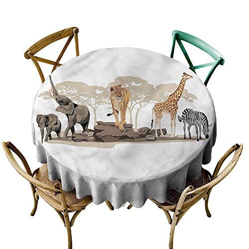 UETECH Pad Round Tablecloth Safari,Wild Savannah Exotic Mammals Wrinkle Free Tablecloths Diameter 50