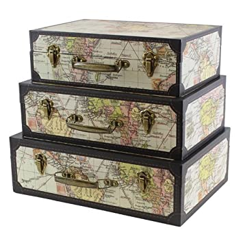 jvl antique map decorative storage boxes with suitcases and metal clasps handle set of 3