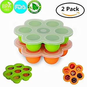 MerryMore 2 Pack Silicone Egg Bites Molds for 5/6/8qt Instant Pot- BPA Free, Premium 100% FDA Food Grade Silicone Storage Container and Baby Food Freezer Tray with Lid (Orange+Green)
