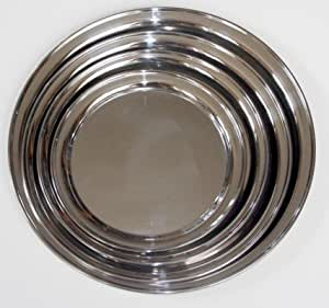 4 Pc Round Stainless Steel Seriving Tray Set by Libertyware