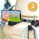 ASANMU Car Headrest Hooks, Vehicle Universal car Back Seat Headrest Hook Hanger with Cellphone Holder for Hanging Bag, Purse, Cloth, Grocery (Black - 2 Pack)