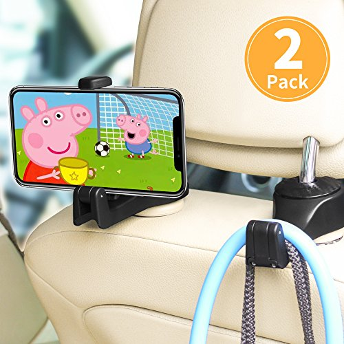 ASANMU Car Headrest Hooks, Vehicle Universal car Back Seat Headrest Hook Hanger with Cellphone Holder for Hanging Bag, Purse, Grocery Headrest Hooks for Car,Car Hooks (Black - 2 Pack) ()