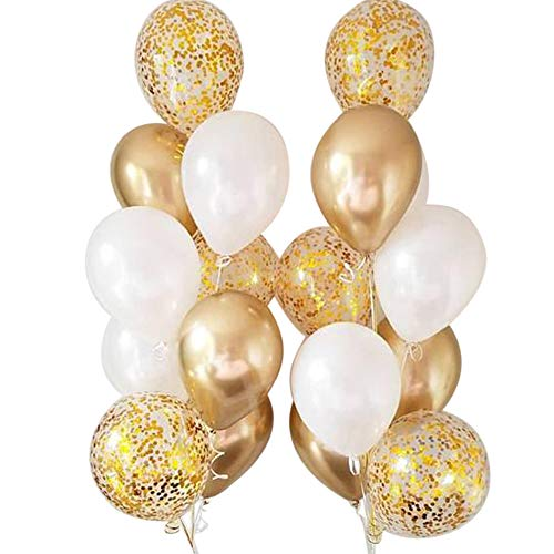 Autupy Set of 18 Chrome Gold Confetti Pearl Balloons,12 Inches Party Balloons -