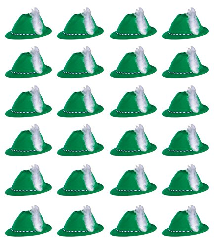 Beistle 66898 24-Pack Velour Tyrolean Hats, Green by Beistle